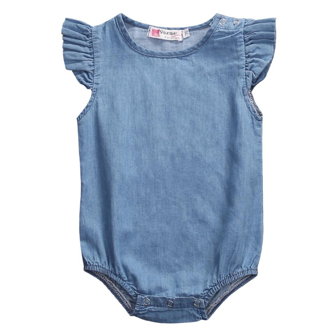 eae5af9d3163a Baby Girl Short Sleeve Denim Jumpsuit